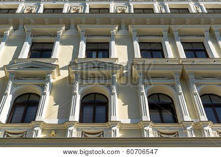 Facade Of Art Nouveau Building In The Centre Of Riga, The Capital Of Latvia
