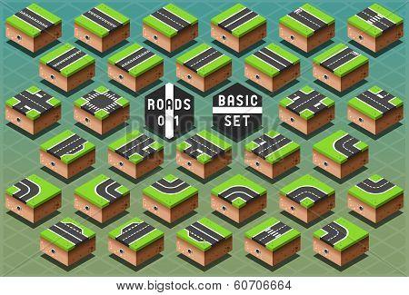 Isometric Roads On Green Terrain