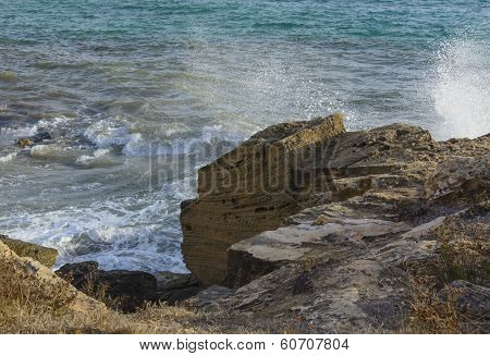 Limestone Cliff Sea Spray