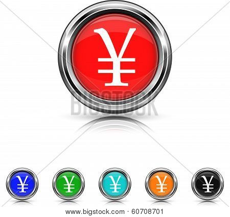 Yen Icon - Six Colors Vector Set