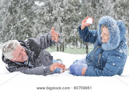 Couple on a walk in winter