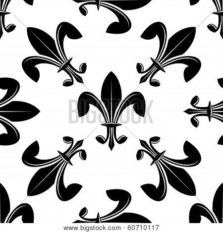 Seamless fleur de lys pattern in black and white