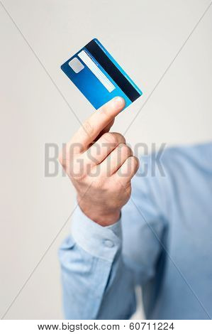 Man Showing His Cash Card