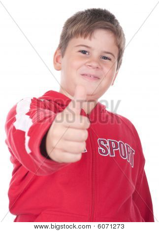Little Boy Stretches A Finger