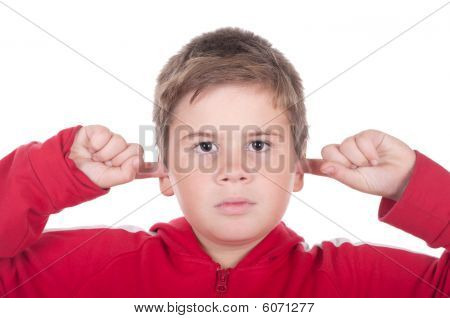 Boy Closes Ears Fingers