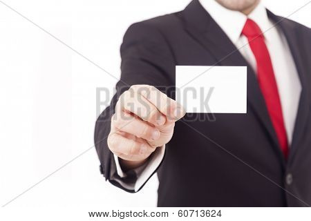 Man's hand showing business card, isolated on white background