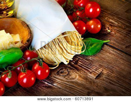 Pasta. Italian Homemade Spaghetti with truffles mushroom, cherry tomato, Parmesan cheese, basil and olive oil. Cooking Pasta. Dinner. Mediterranean cuisine