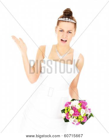 A picture of an unhappy bride posing with flowers over white background