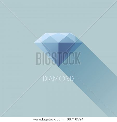 Diamond. Flat Vector Design With Long Shadow