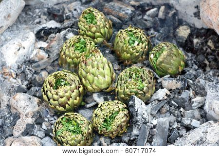Artichokes Seasoned Cooked On Charcoal