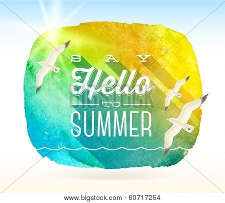 Summer greeting and flying seagulls against a watercolor background banner - vector illustration