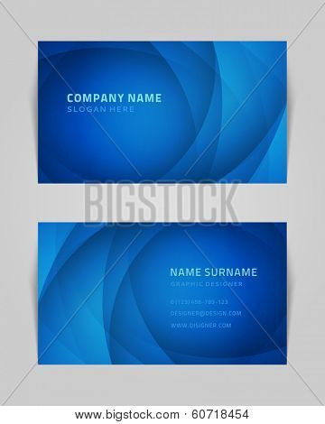 Vector abstract creative business card design template. Light waves background.