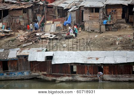SRINAGAR, JAMMU AND KASHMIR, INDIA - JULY 20, 2006: Slum houses in Srinagar