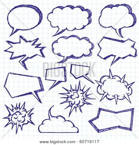 Vector sketch background with speech and thought bubbles