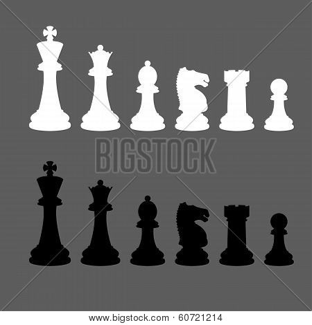 Complete set of vector silhouettes chess pieces