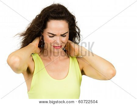 Woman Suffering From Stiff Sore Neck