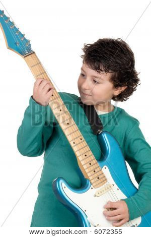 Boy Whit Electric Guitar
