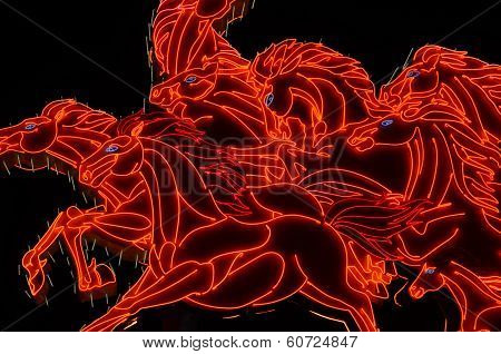 The lights of  galloping horses