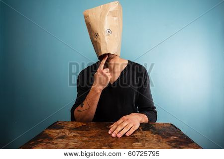Silly Man With A Bag Over His Head