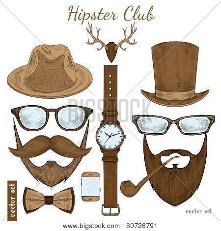 Vintage hipster club accessories
