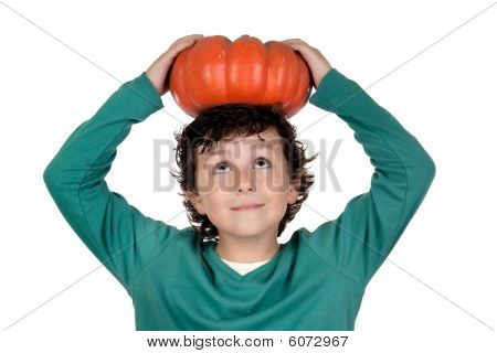 Beautiful Little Boy With A Big Pumpkin