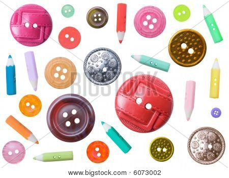 Set Of Plastic Color Different Buttons Isolated On White Background