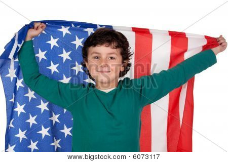 Adorable Boy With American Flag