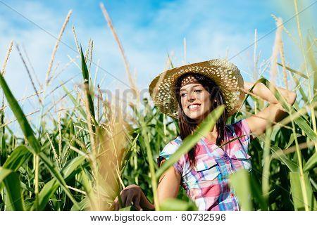 Beautiful Female Farmer In Corn Field