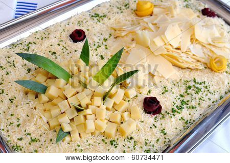 Tray With Various Types Of Cheese