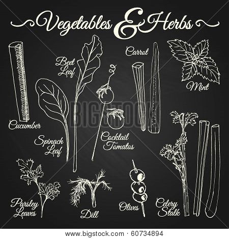 Vegetables & Herbs Chalkboard