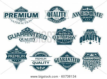 Labels set denoting Premium Quality