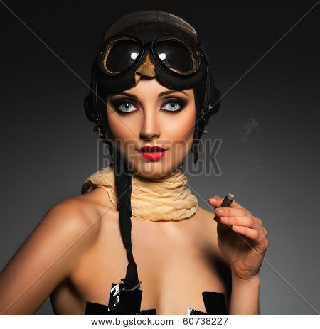 Portrait Of A Beautiful Woman Aviator With A Glamorous Retro Makeup