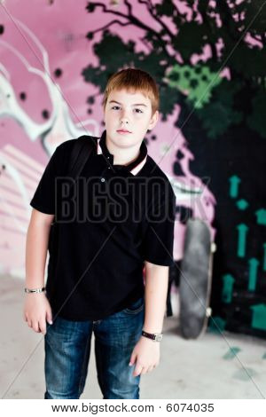 Young Boy With Shoulder Bag