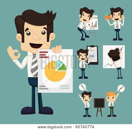 Set Of Businessman Characters Presentation Graph