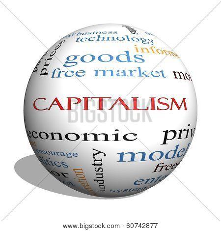 Capitalism 3D Sphere Word Cloud Concept