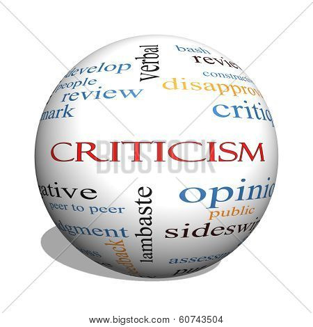 Criticism 3D Sphere Word Cloud Concept