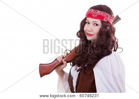 Pirate Girl With A Musket Isolated On White Background
