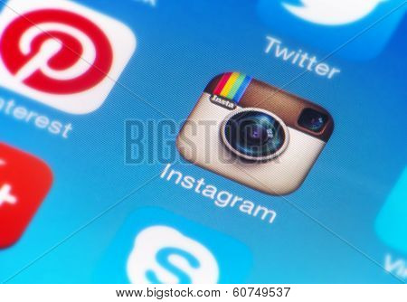 Instagram icon on smartphone