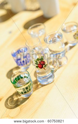 different liquers in shotglasses