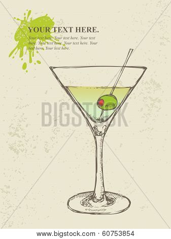 Hand drawn illustration of iced cocktail