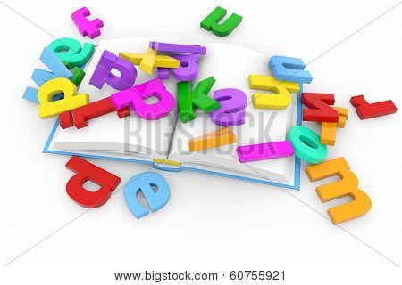 book and colored letters