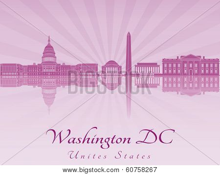 Washington Dc Skyline In Purple Radiant Orchid