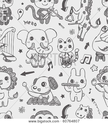Seamless Doodle Animal Music Band Pattern Background