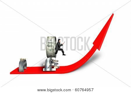 Man Jumping Through Money Circle On Red Arrow