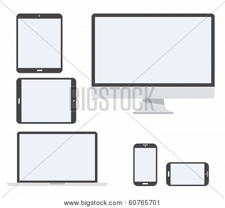 Electronic devices vector icon set isolated on white