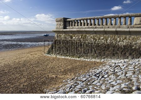 Promenade Wall At Westcliff, Near Southend-on-sea, Essex, England