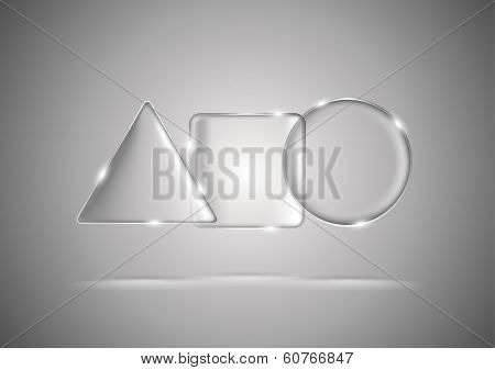 Glass geometric triangle, square and circle