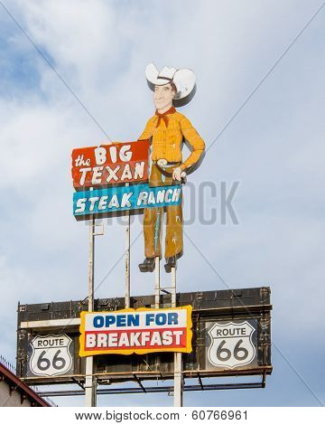 Route 66: Big Texan Steak Ranch Neon Sign and Shield, Amarillo, TX