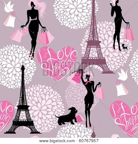 Seamless Pattern - Effel Tower, Hearts With Calligraphic Text I Love Shopping, Girls Silhouettes Wit