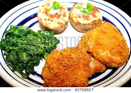 Crispy Baked Chicken Meal With Potatoes And Spinach